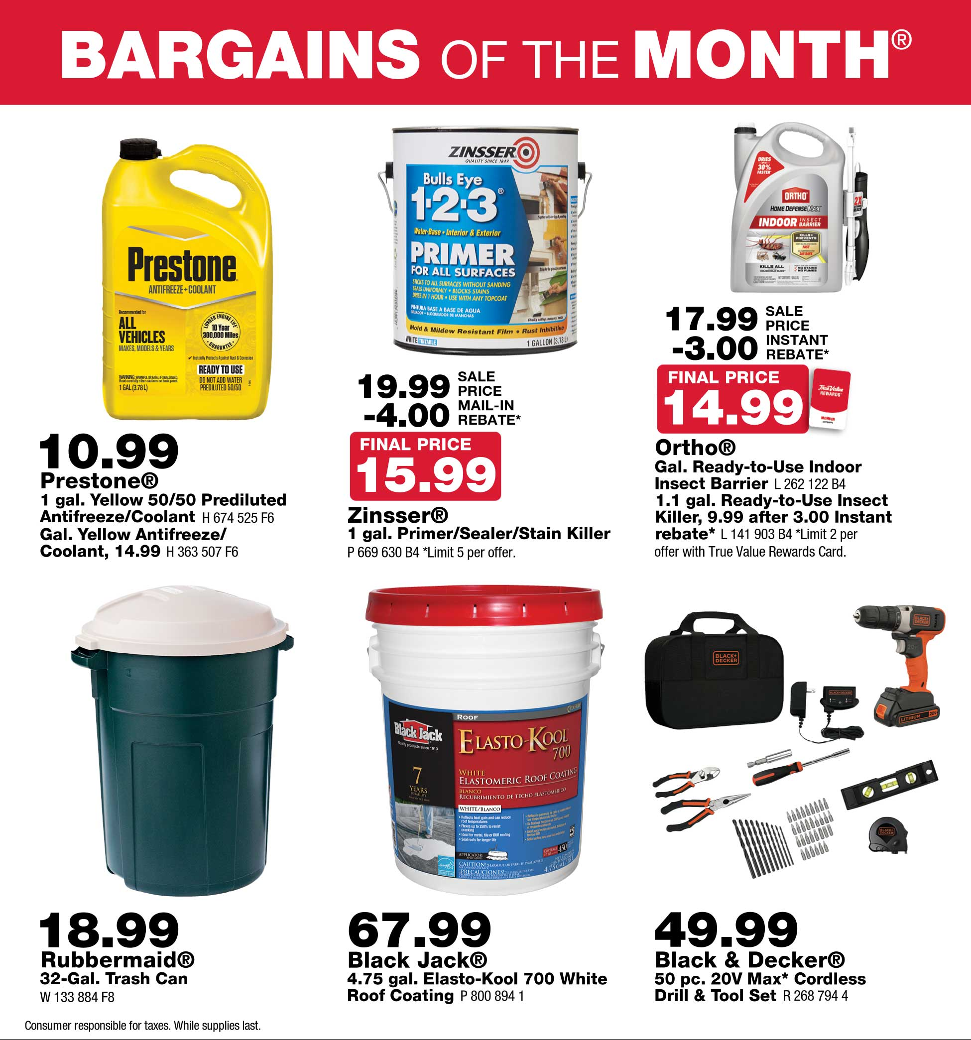 Junction True Value August Bargains of the Month